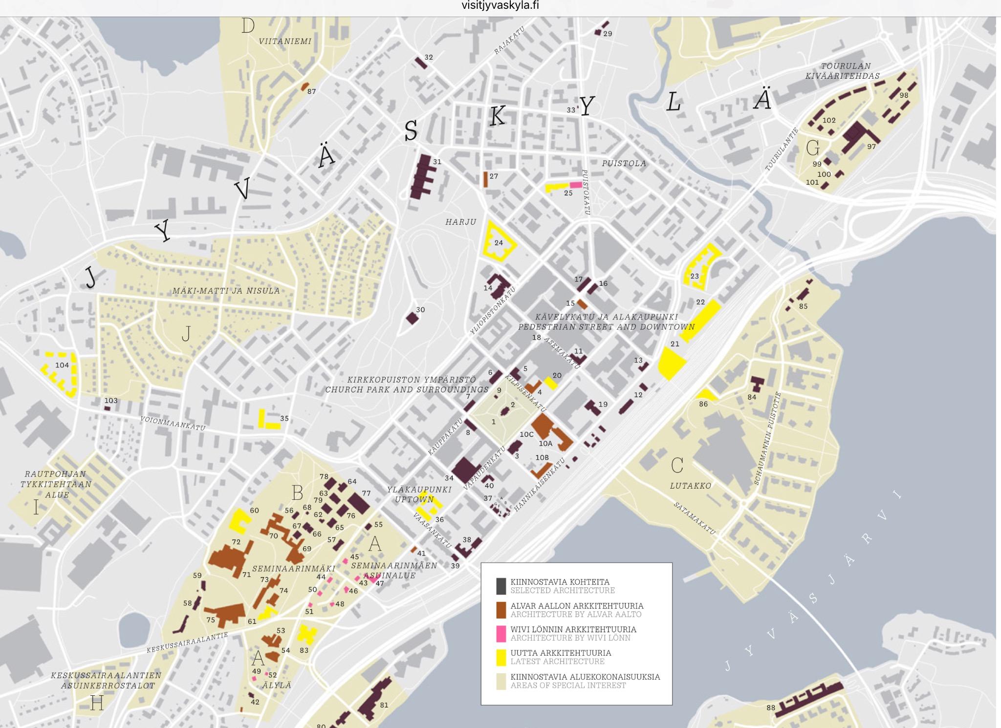 Jyvaskylan Arkkitehtuurikartan Keskusta Alue Avaa Koko Kartta