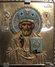 Pyhän Nikolaoksen ikoni, riisa: hopeaemali, kirkkomuseon kokoelmat.