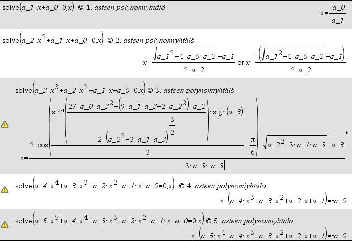 Korkeamman asteen yhtälön ratkaiseminen