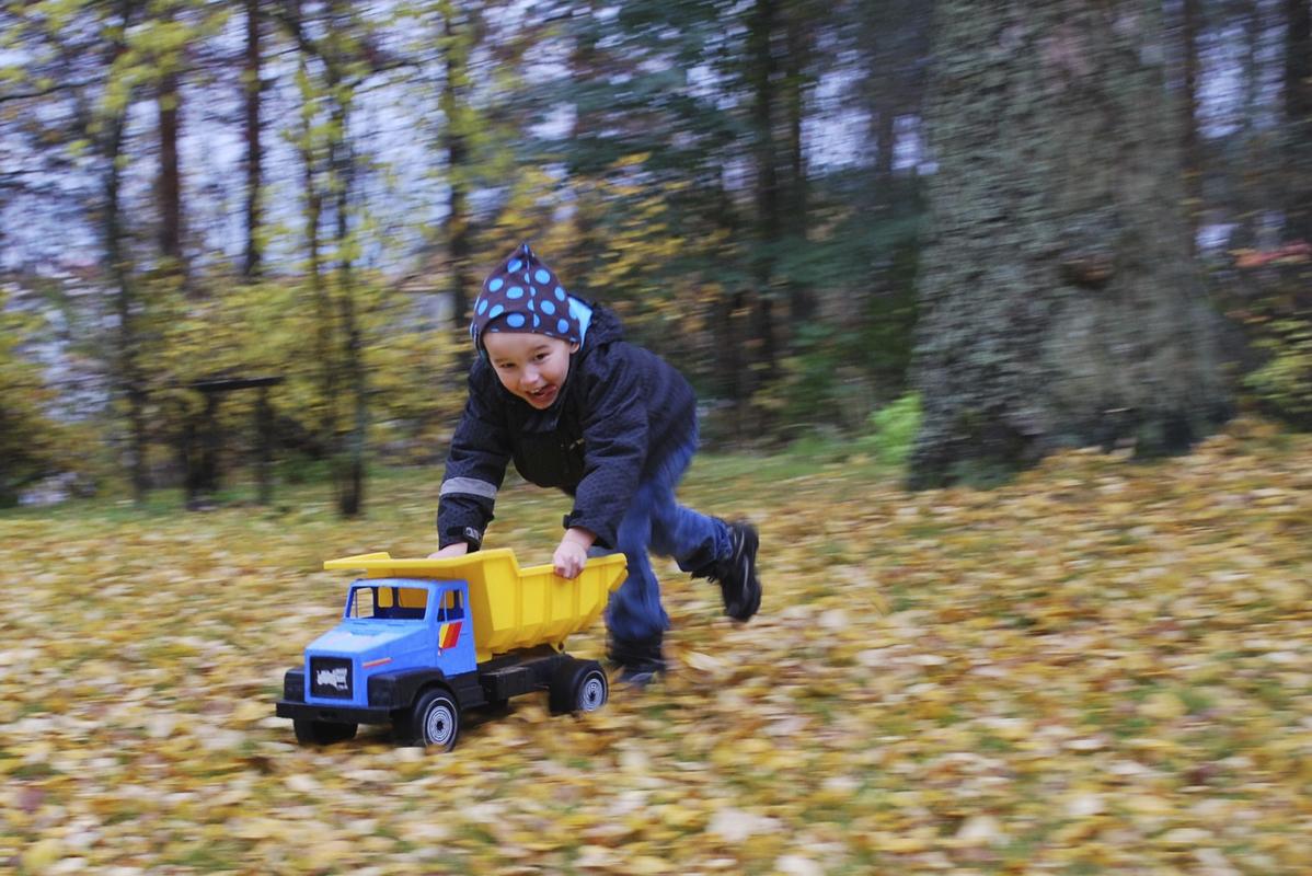 Poika työntää kuormuria Anne Soini.jpg