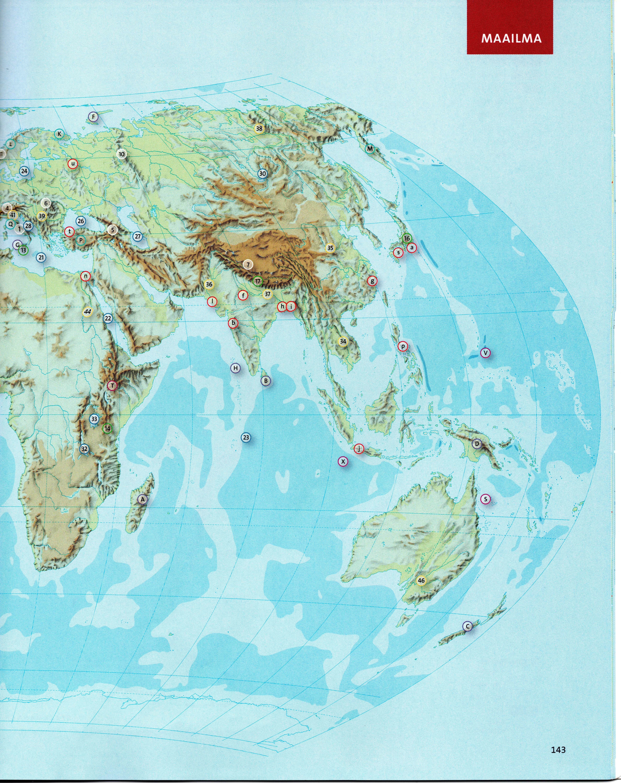 Euraasian Afrikan Ja Australian Kartta