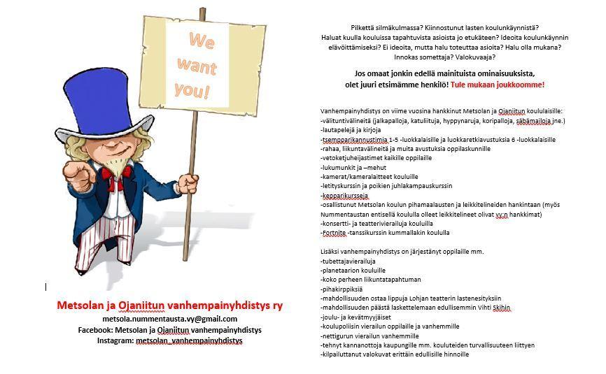 Kuvassa tietoa Metsolan ja Ojaniitun koulujen vanhempainyhdistyksen toiminnasta ja yhteystiedot toimijoille.