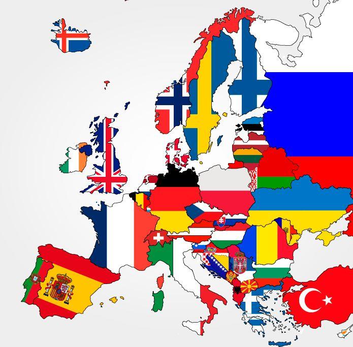 Euroopan Kartta Valtiot On Eroteltu Toisistaan Valtioiden Lipuilla