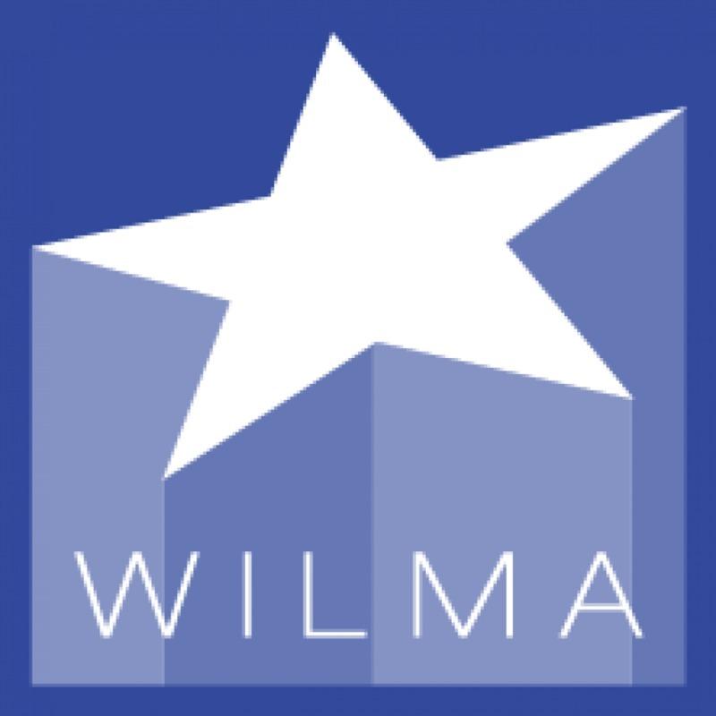 Kuvassa on Wilma-logo: valkoinen kolmiulotteinen tähti, jonka yläpuolella on tummansininen taustaväri ja alapuolella siniharmaa taustaväri.