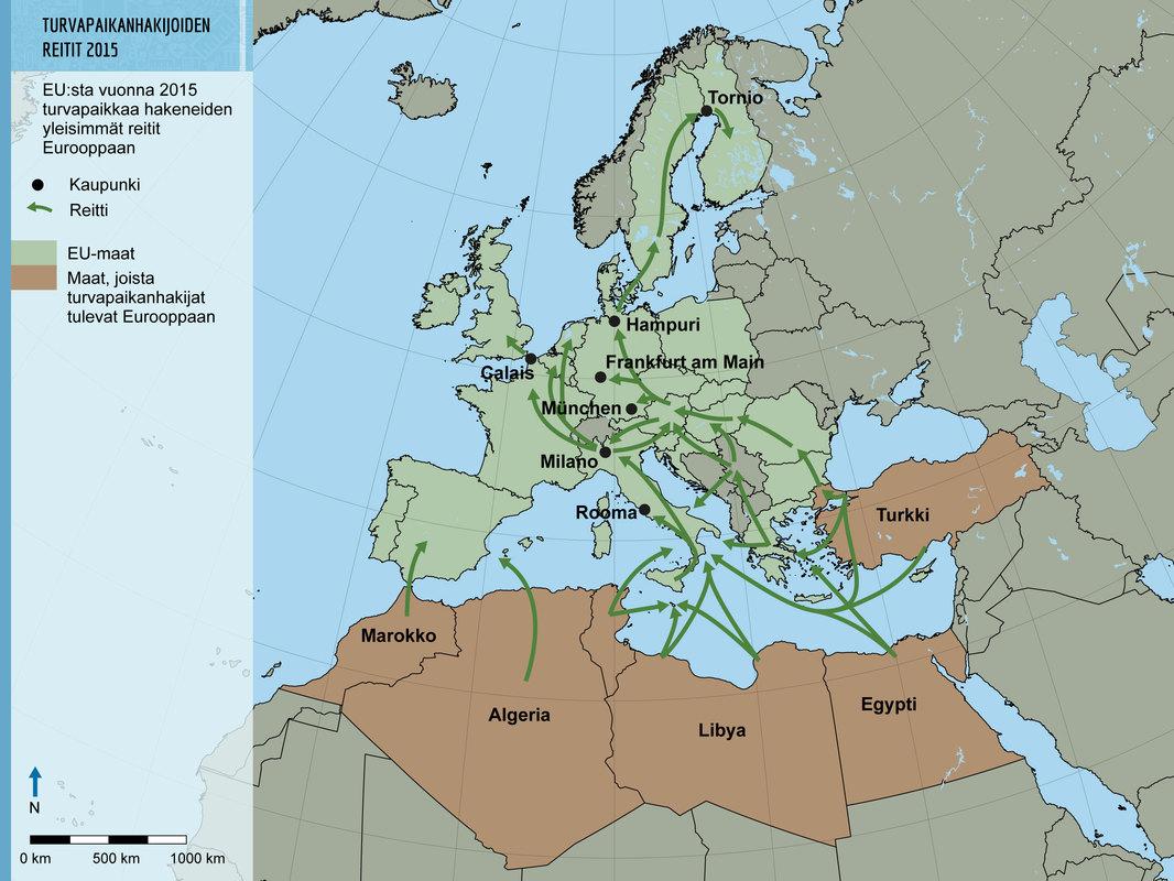 Turvapaikan Hakijoiden Tarkeimmat Reitit Vuonna 2015 Eu N