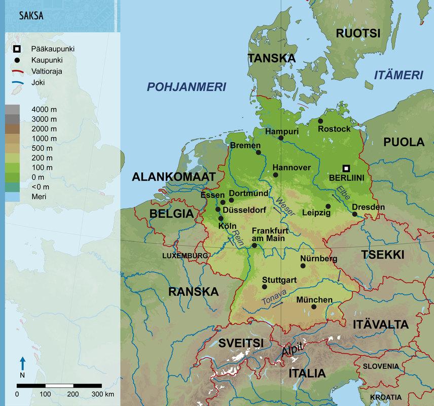 Saksan Kartta Saksalla On Itameren Rantaa Elbe Ja Rein Laskevat