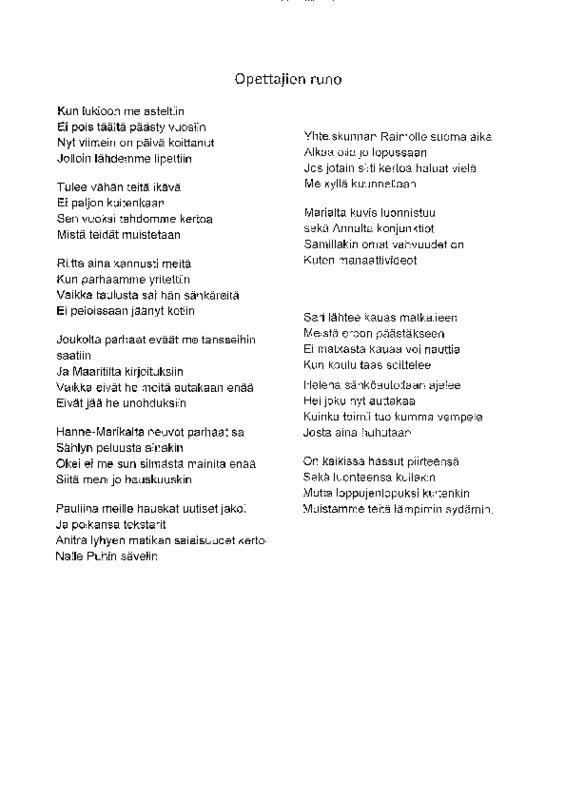 Abien (2015) runo opettajille